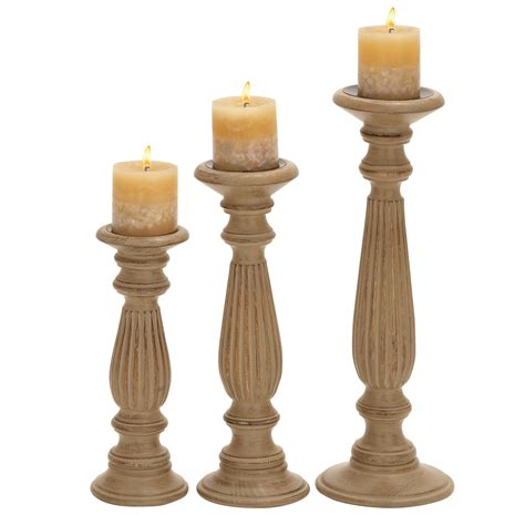 Candle Holders Set Of 3 by Factory Wood Pillar Candle Holders Set Of