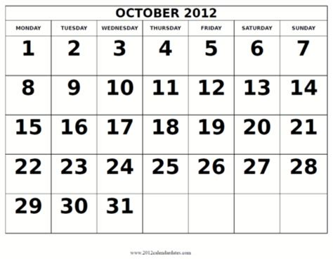October 2012 Calendar Calendar October 2012 Calendar 2012