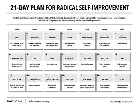 day plans for 21 day plan for radical self improvement print friendly
