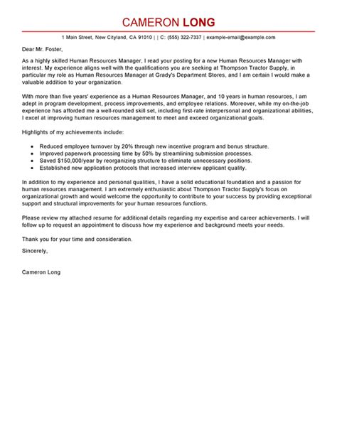 Cover Letter For Hr Human Resources Manager Cover Letter Exles Human Resources Cover Letter Sles Livecareer