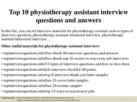 top 10 physiotherapy assistant questions and answers