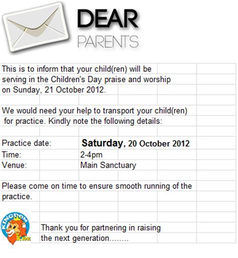 Parents Day Letter Kingdom Kidz Letter For Parents On Children Day