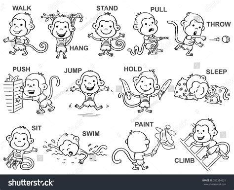 coloring pages for verbs verbs pictures monkey character stock vector