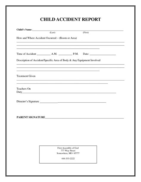 incident after report template incident report form child care child report