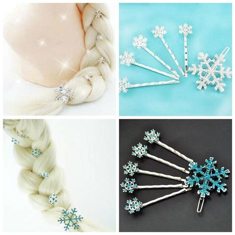 Elsa Button Hairclips 2017 elsa frozen hair accessories frozen elsa snowflake hairpin hair clip jewelry