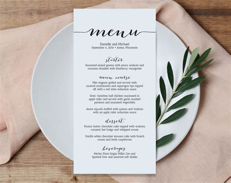 dinner menu ideas mccormick wedding menu printable template printable menu menu