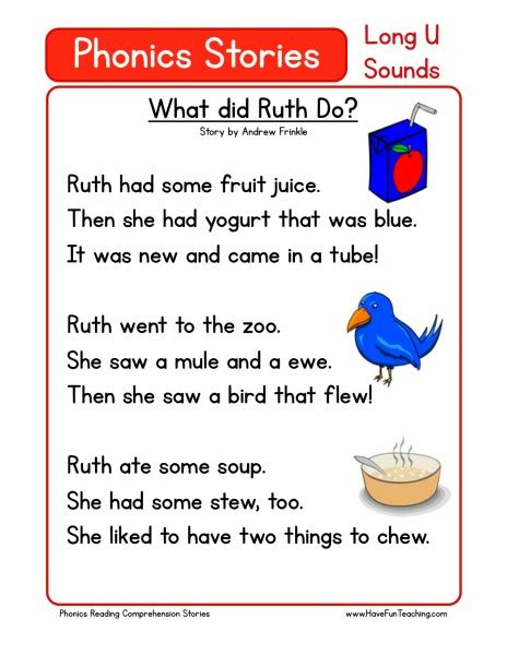 Phonics Reading Worksheets For Kindergarten by Reading Comprehension Worksheet What Did Ruth Do