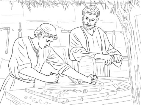 coloring pages of joseph the carpenter young christ child and st joseph the carpenter catholic