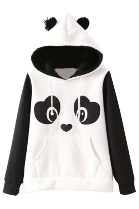 Sweater Panda To lovable panda pattern hoodie oasap
