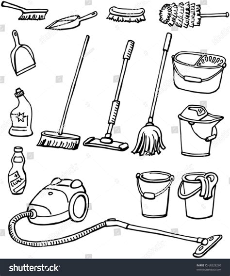 house drawing tool cleaning equipment set housekeeping tools handdrawn stock
