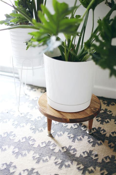 How To Make A Plant Holder - diy midcentury style plant stand a beautiful mess