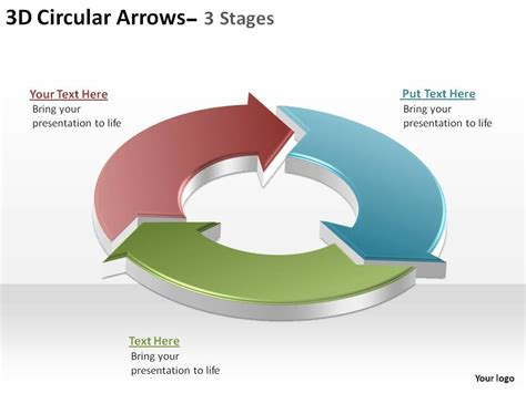 powerpoint circular arrow template 3d circular arrows process smartart 3 stages ppt slides