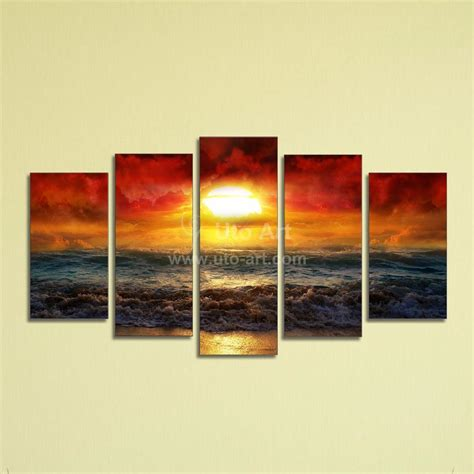 discount wall decor home accents 2017 cheap 5 panel wall art painting ocean beach decor canvas prints picture fire kissed water