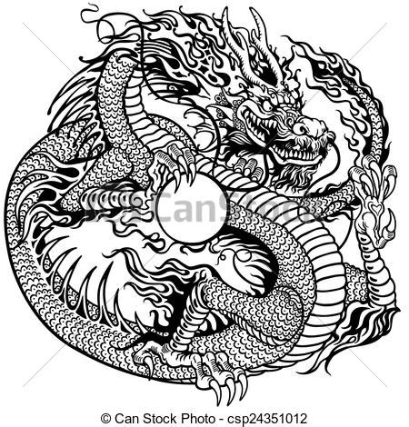 vector clip art of chinese dragon holding pearl black and