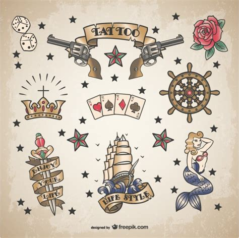 classic sailor tattoo set vector free download