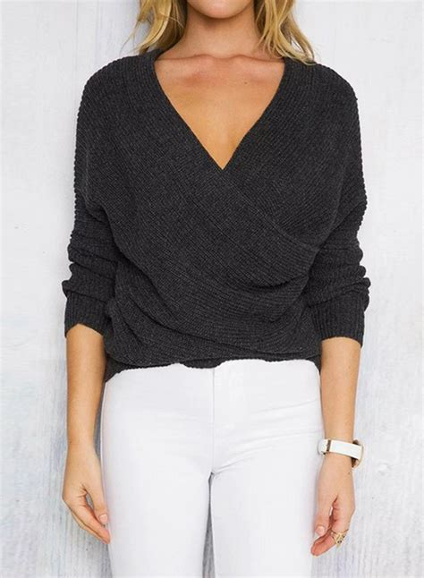 s solid cross v neck sleeve sweater novashe