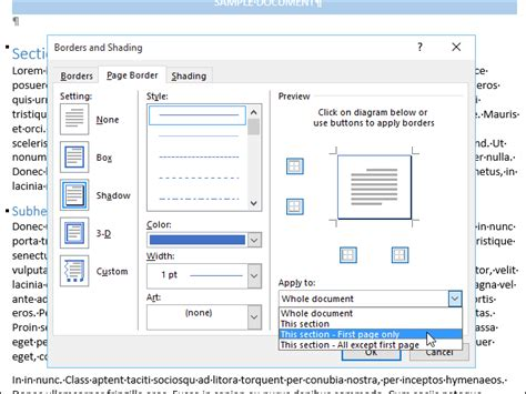 insert decorative text in your document how to add a border to an entire page in word
