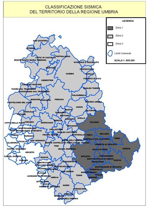 dell umbria classificazione sismica regione umbria