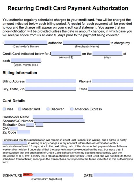 recurring credit card authorization form template free recurring credit card payment authorization form