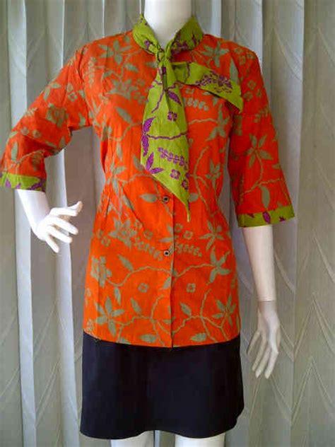 Raisha Orange blus batik kerja baju batik wanita kode bk raisha grosir batik sarimbit batik sarimbit