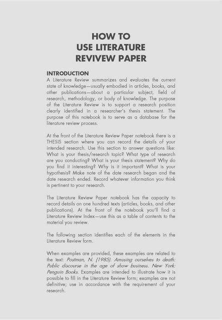 how to write a review paper in engineering literature review paper sle