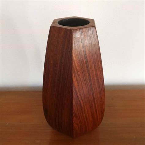 1950s rosewood hexagon shaped vase at 1stdibs