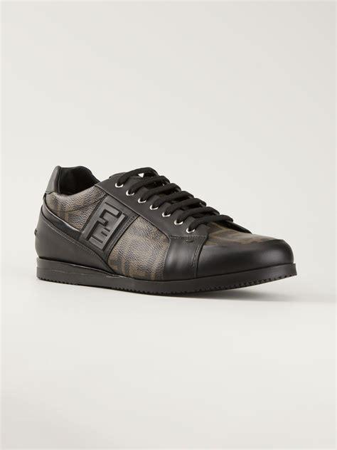 fendi sneaker lyst fendi ff logo sneakers in brown for