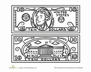 coloring page 5 dollar bill dollar bill coloring images reverse search