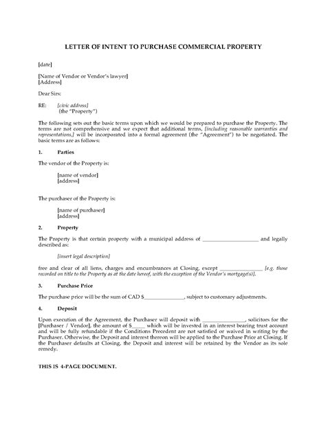 Letter Of Intent Canada canada letter of intent to purchase commercial real estate