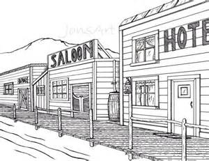 Old Western Town Drawing Sketch Coloring Page sketch template