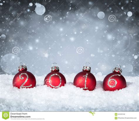 new year snow happy new year 2016 baubles stock photo image 61878740