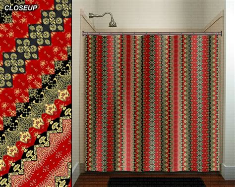 red and gold shower curtain red gold black golden asian batik shower curtain bathroom