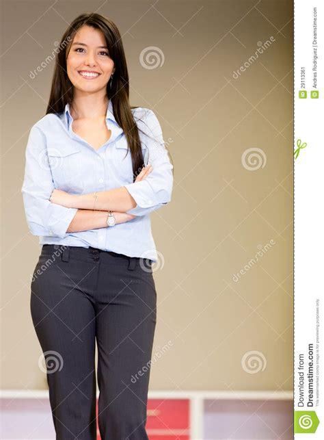 confident saleswoman stock image image  happy