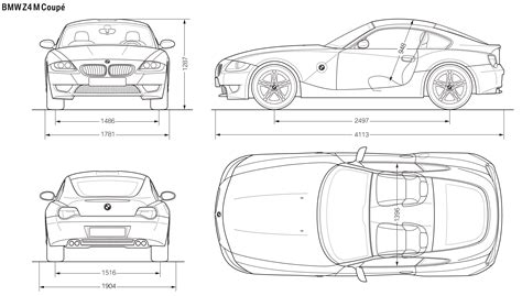 car blueprints 2007 bmw z4 e86 m coupe blueprint