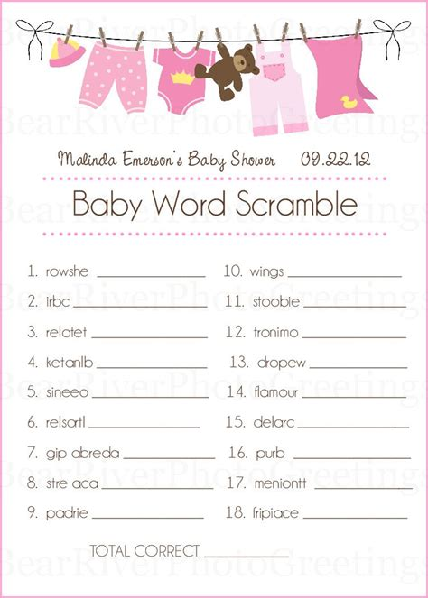 Baby Shower Activity Ideas Not by Baby Shower Cards Baby Word Scramble Set Of 20