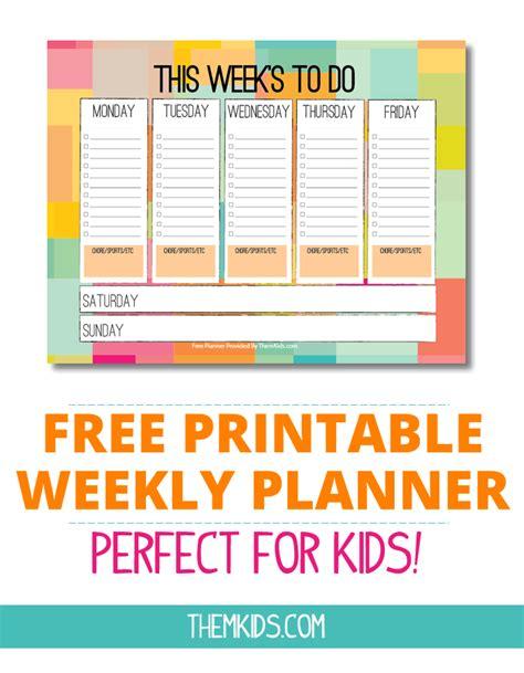 printable planner free download kids weekly calendar printable calendar template 2016