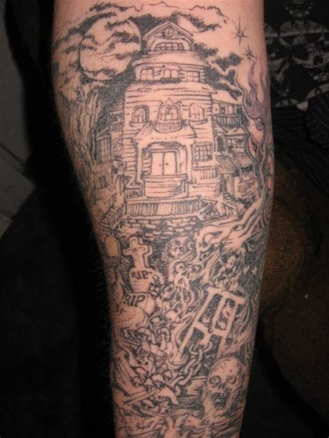 spooky graveyard sleeve tattoo tattoomagz tattoo designs ink works body arts gallery