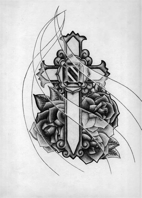 rose with cross tattoo designs cross and flowers tattoos design