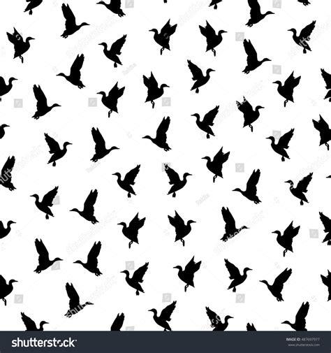 black and white bird pattern black white seamless pattern flying bird stock vector