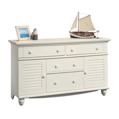 4 drawer dresser white shop sauder harbor view antiqued white 4 drawer dresser at