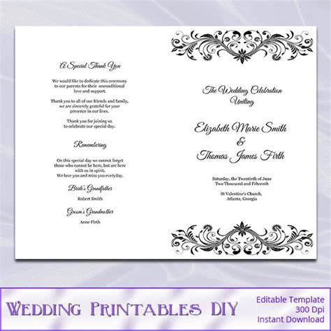 Wedding Booklet Templates wedding program booklet template black and white diy