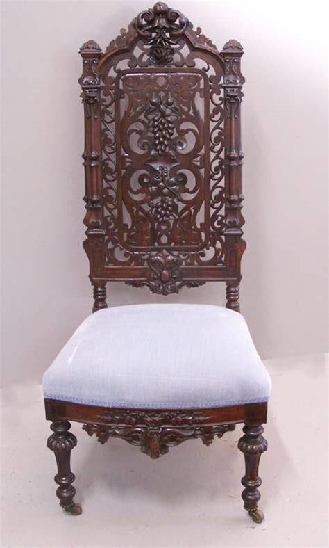 victorian gothic furniture victorian gothic rosewood hand carved slipper chair c1850