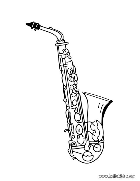 musical instruments coloring pages printable saxophone coloring pages hellokids com