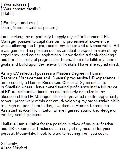 cover letters for human resources hr business partner cover letter