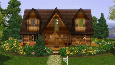 Small House Big Garage Plans mod the sims rustic log home