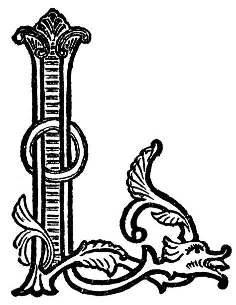 black and white l l ornate initial clipart etc