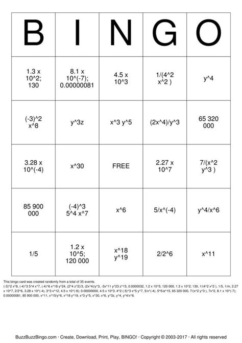 Printable Exponent Games | exponent rules bingo cards to download print and customize
