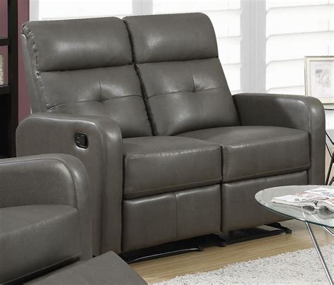 gray leather loveseat 85gy 2 charcoal grey bonded leather reclining loveseat