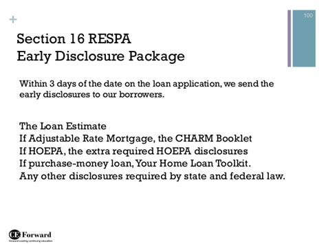 respa section 4 residential mortgage loan processing class