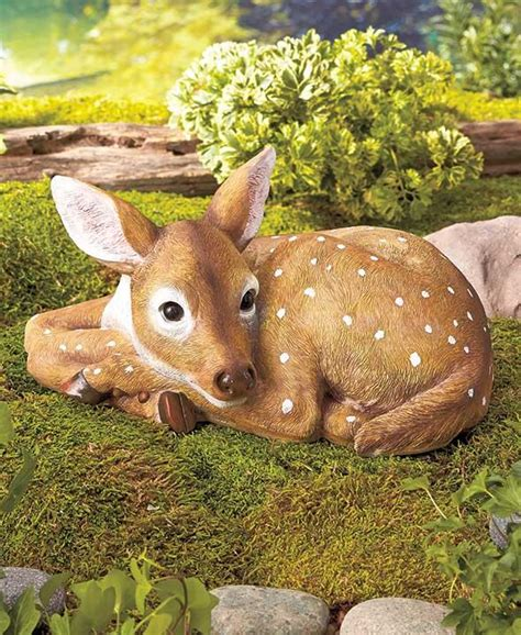 realistic resting fawn deer garden animal statue outdoor